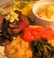 Roasted Herb and Salt Encrusted Tenderloin of Beef with Portabella Mushrooms and Bernaisse Butter with Buttermilk and Rosemary Vermont Cheddar Potatoes, Fried Green Tomatoes and Tomato Gravey and Braised Swiss Chard