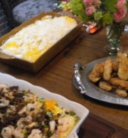 Shrimp and Grits, Buttermilk Fried Chicken Tenders, Cheesy Mashed Potatoes