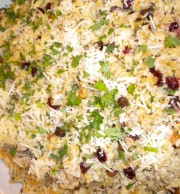 Twice the Rice: brown rice, dried cranberries, pine nuts with fresh orange juice and zest