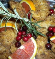 Buttermilk Pan Fried Chicken Tenderloins with Blood Oranges and Fresh Rosemary