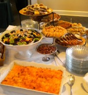 Brunch: Baked Cheese Grits, Fresh Fruit, Sweet Breads, Pecans, Snappy Cheese Wafers