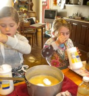 This is how I learned to make fudge, from my mother and grandmother. So Bella and Lillian will learn the old fashion way also.
