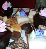 Shortbread Cookies dipped in chocolate, Toffee, Almond Tart, and Petit Fours